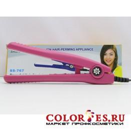 Мини-утюжок для выпрямления волос, нано-керам. покрытие, цвет черный/розовый SS-767 (К.) 788505, 788