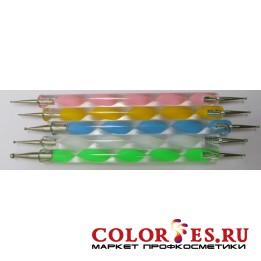Дотс двухсторонний для дизайна ногтей (пластиковая ручка) (5 шт/уп) (К.) (062393)
