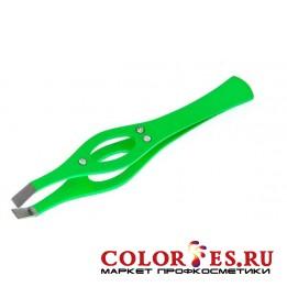 Пинцет METZGER PT-213(2)-GN Прямой (зеленый со стразами)