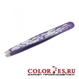 Пинцет METZGER PT-359-PK прямой фиолетовый с орнаментом