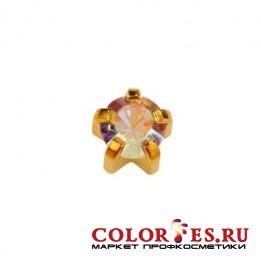 Серьги-иглы STUDEX д/прокола ушей стер., крапан с позолотой, с цвет. камнем (Горный хрусталь) R115
