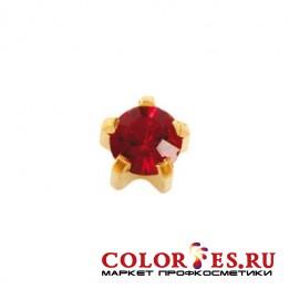 Серьги-иглы STUDEX д/прокола ушей стер., крапан с позолотой,с цвет. камнем(Гранат), средние R101