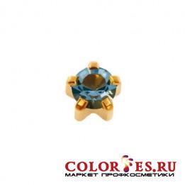 Серьги-иглы STUDEX д/прокола ушей стер., крапан с позолотой,с цвет.камнем (Аквамарин), средние R103
