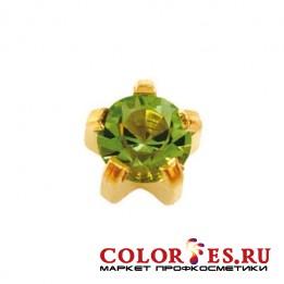 Серьги-иглы STUDEX д/прокола ушей стер., крапан с позолотой,с цвет.камнем (Хризолит), большие L108