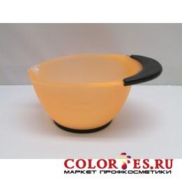 Чаша для окрашивания с ручкой, с противоскользящей резин. на дне и ручке, оранж 360 мл (К.) (061860)