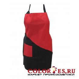 Фартук для мастера на завязках с карманом (черно-красный) (К.) (061204)