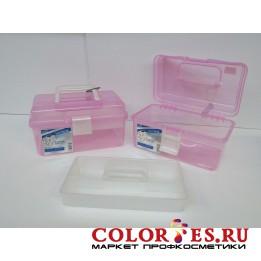 Чемодан пластиковый большой для маникюрных инструментов и принадлежностей розовый (К) (029365)