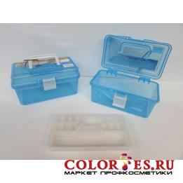 Чемодан пластиковый большой для маникюрных инструментов и принадлежностей синий (К) (029358)