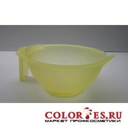 Чаша для окрашивания с ручкой и носиком, с расческой на бортике,желтая матовая 300 мл (К.) (030941)