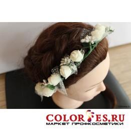 """Венок-кольцо """"Белые цветы"""" (К.) (024841)"""