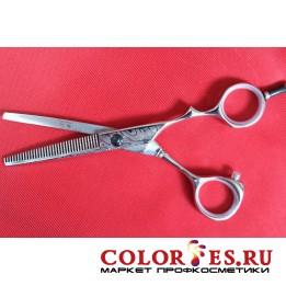 Ножницы PRO FEEL филировочные, 35 зубцов (хром.полир. эргоном. ручки) DWS-535 (К.) (052608)